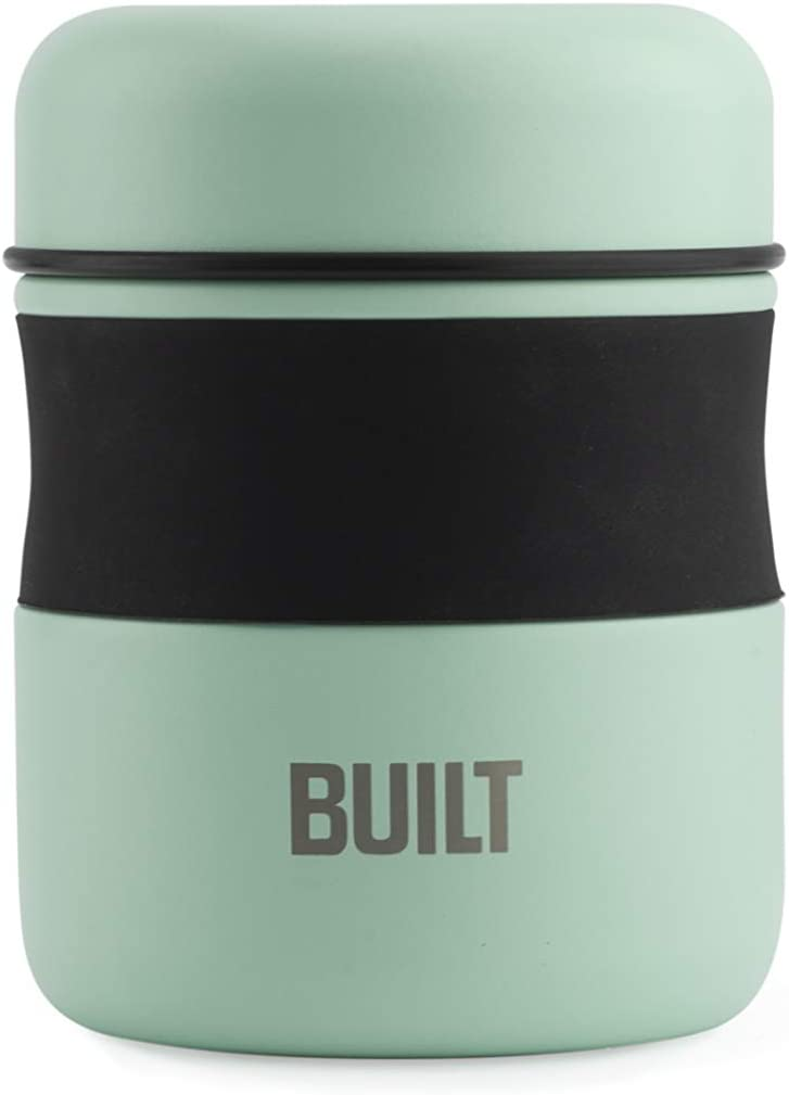 BUILT 5237387 Double Wall Stainless Steel Vacuum Insulated Reusable Food Storage Jar, 10-Ounce, Mint