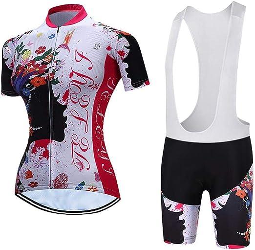 Maillot Ciclismo Mujer, Ciclismo Conjunto de Ropa con Culotte ...