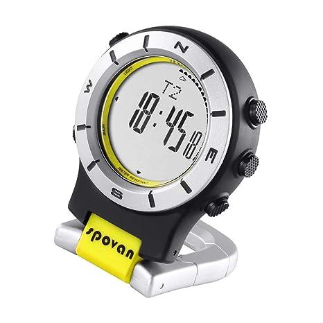 Baoblaze Reloj de Bolsillo Digital LED con Brújula y Barómetro Altímetro - Amarillo Blanco