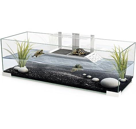 Terrario de cristal con 2 rampas para reptiles o tortugas Tartarium 80
