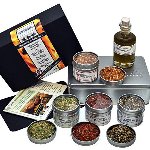 direct&friendly Bio Grill Gewürz Superfood Set - Geschenke für Männer - für Rubs, Marinaden und Glasuren für Grillmeister und -amateure plus Info-Heft mit Rezepten und Anregungen