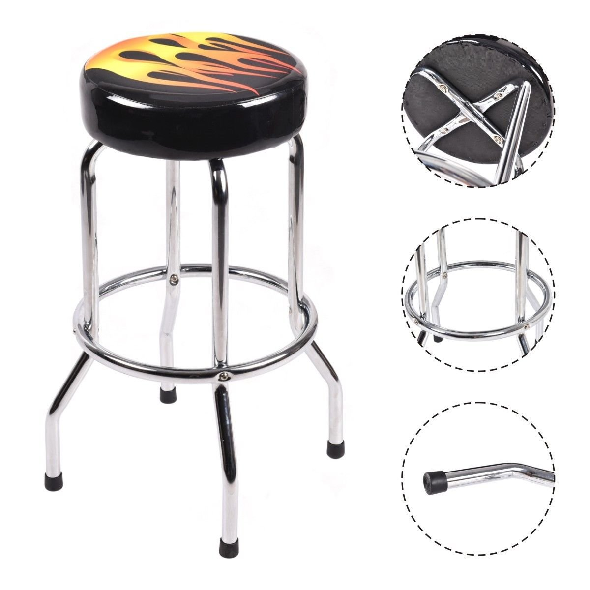 Modern 29'' Counter Height Flame Bar Stool Round Padded Seat Barstool Chair by patcharaporn