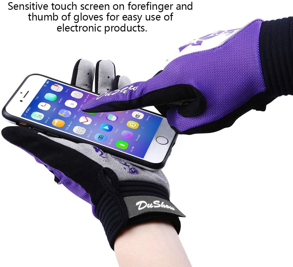 DuShow Full Finger Cycling Gloves Women Touchscreen Bike Gloves Gel Padded Bicycle Full Finger Gloves for Climbing Hiking Camping Motorcycle