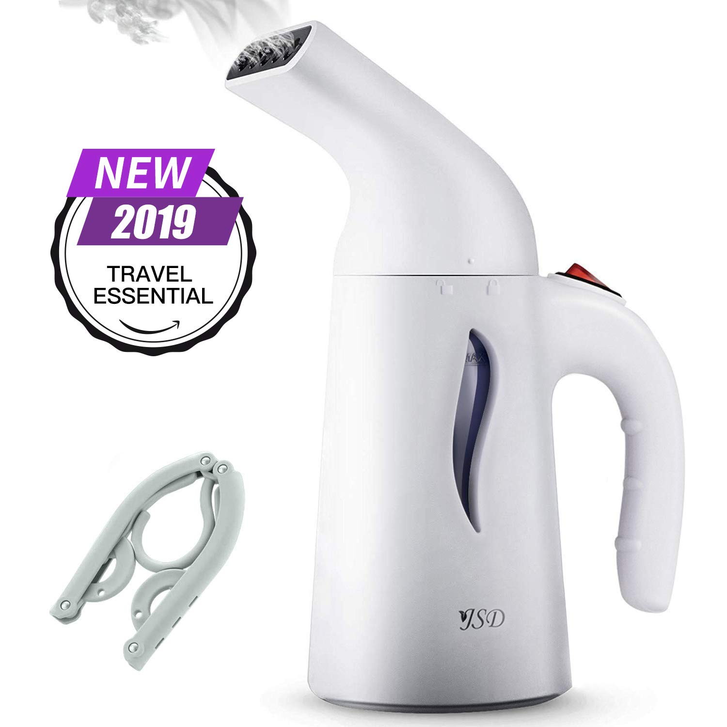 JSD Steamer for Clothes, 7 in 1 Travel Garment Steamers, 150ml Powerful Handheld Fabric Steamer with High Capacity for Home and Travel, Travel Pouch Included [Updated Version] by JSD