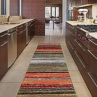 Diagona Designs Contemporary Wavy Stripes Design Non-Slip Kitchen/Bathroom/Hallway Area Rug Runner, 20 W x 59 L, Multi Color