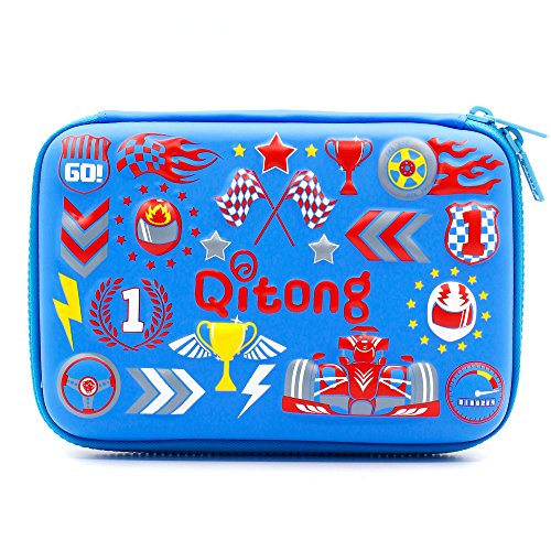 Cool Car Racing School Boy Hardtop Pencil Case Big Pencil Box With Compartment For Kids (Blue)
