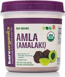 Bareorganics Amla Powder, Indian Gooseberry, Organic, Vegan, Non-GMO, Gluten-Free, BPA-Free, 8oz