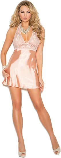 Elegant Moments Womens Lace Charmeuse Halter Neck Babydoll /& G-String Set