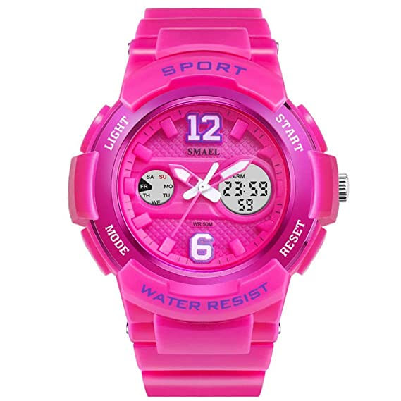 FUBULE Reloj de Correa de Resina Deportiva para niña con Pantalla Digital y analógica (Color : Pink): Amazon.es: Relojes