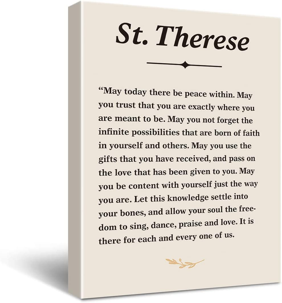 Inspirational St. Teresa Quote May Today There be Peace within Poster Canvas Wall Art Painting Ready to Hang for Home/Bedroom/Living Room Decor - Saint Teresa Quote Wall Decor Canvas Gifts - Easel & Hanging Hook 11.5x15 Inch