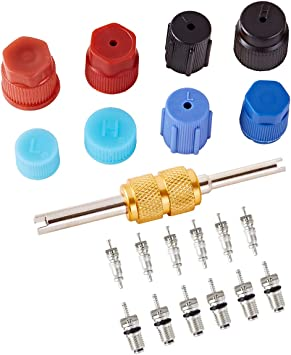 R12 R134a Schrader Valve Cores with Valve Stem Core Rmover Tool for Car Air Conditioning BingSnow Valve Core for AC Refrigeration