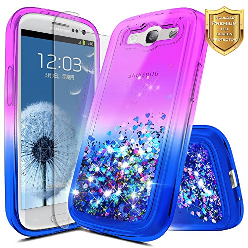 Galaxy S3 Case with [Screen Protector HD Clear], NageBee Glitter Quicksand Liquid Floating Flowing Sparkle Shiny Bling Luxury Stylish Cute Case For Samsung Galaxy S3 S III I9300 GS3 -Purple/Blue