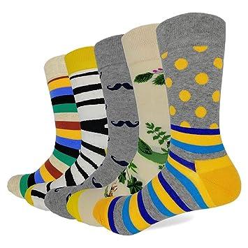 LILIKI@ 5 Par/Lote Moda Calcetines Hombres con Patrón De Rayas Punto Cebra Feliz Divertido Color Largo Calcetines De Vestir: Amazon.es: Deportes y aire ...