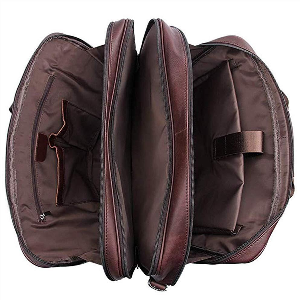 Color : Brown, Size : M Bobelakyi Mens Briefcase Tote Leather Travel Crossbody Shoulder Bag Brown 17 Laptop Case Work Bag Carrying Case Multifunction Pocket Bag High Capacity
