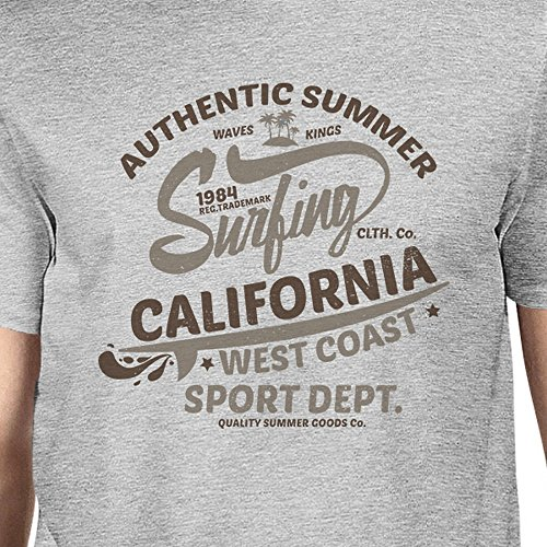 Authentic Sans Courtes 365 Surfing Unique Homme Manches Summer Printing Pull Taille Manche Grey California qrwnXzESw