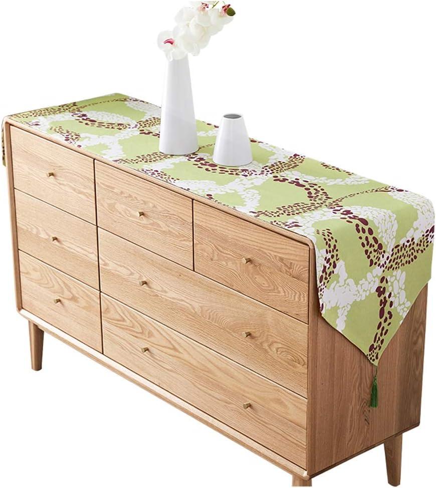 D&F Caminos de Mesa Corredor de Mesa de algodón y Lino Americano, Simple y versátil, Tejido selecto, Lavado a máquina (Color : Green, Size : 30×120CM)