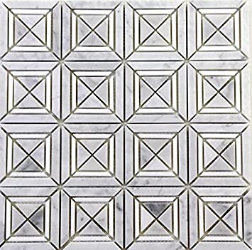 Bright White and Black Matte X Styles Stone Square Marble Mosaic Tiles for Bathroom and Kitchen Walls Kitchen Backsplashes