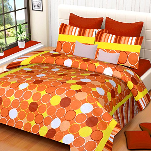 HOME ELITE Dynamic Polka Print Cotton Double Bedsheet with 2 Pillow Covers-Multicolor , RG-NCB-323
