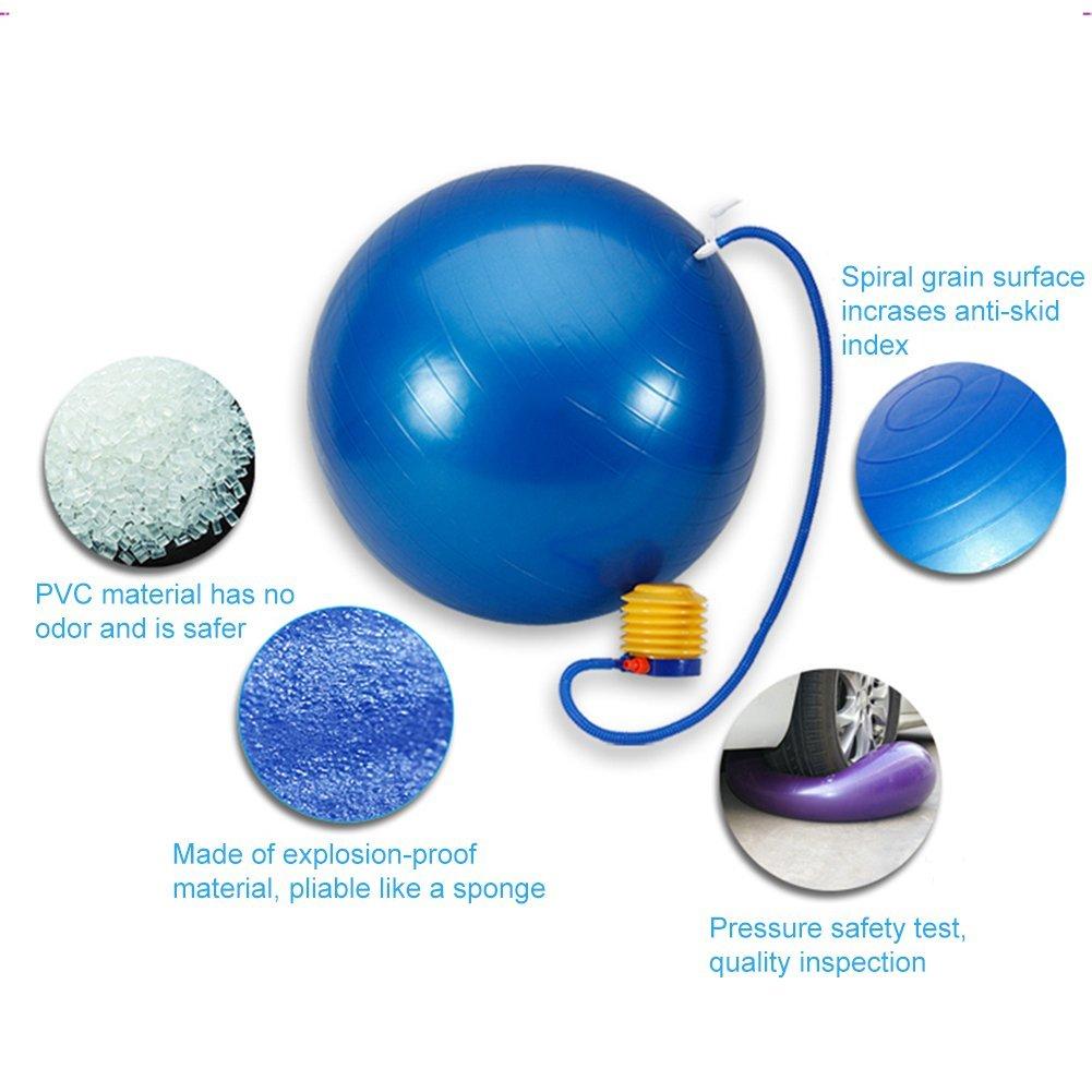 Lintelek Exercise Ball Quick Foot Pump, Professional Grade Anti Burst Stability Ball Yoga, Fitness, Balance, Core Strength, Work Chairs, Gym, Home (Black, 65 cm) by Lintelek (Image #5)