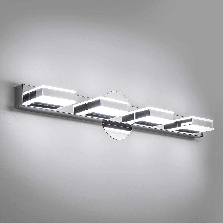 Ralbay Modern LED Bathroom Vanity Lights 3 Lights Acrylic Stainless Steel LED Vanity Light Fixtures for Bathroom Lighting 6000K Cool White Light