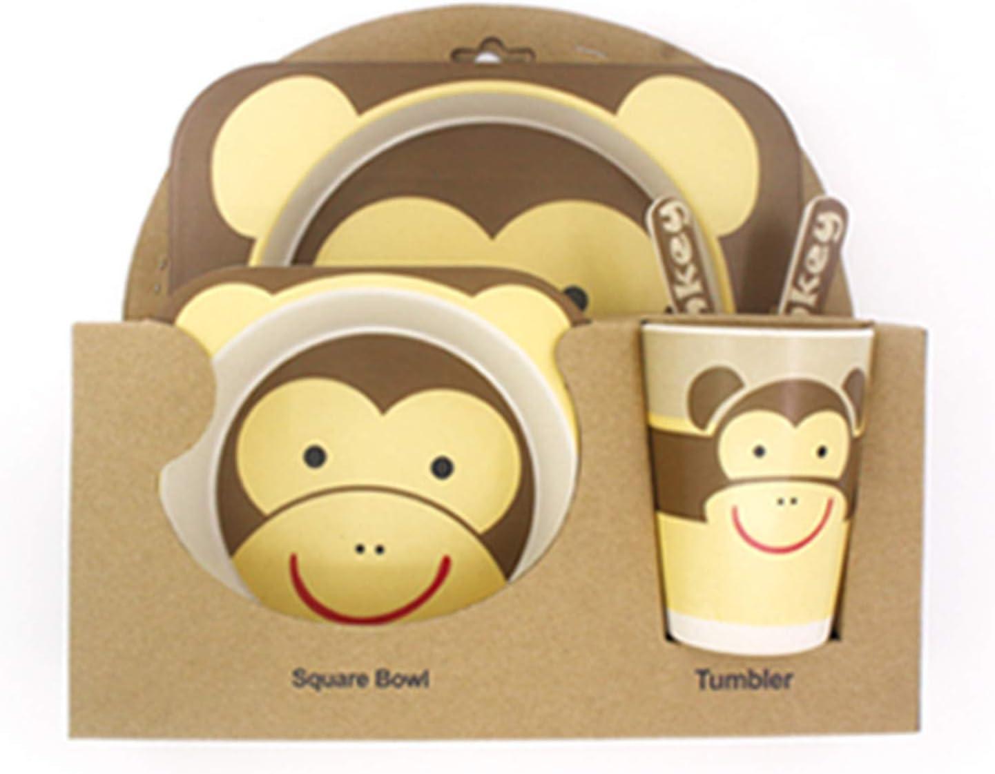 forchetta e cucchiaio Posate per bambini Butterfly Elonglin tazza Set da tavola in bamb/ù 5 pezzi piatto ciotola