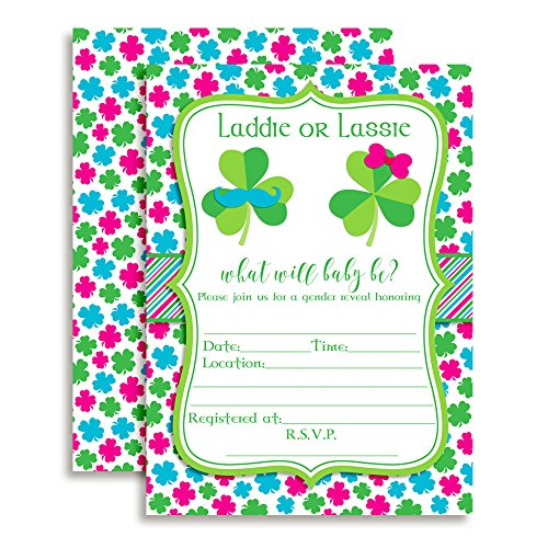 St. Patrick's Day Gender Reveal Baby Girl Shower Fill In Invitations set of 10 with (Patricks Day Invitations)