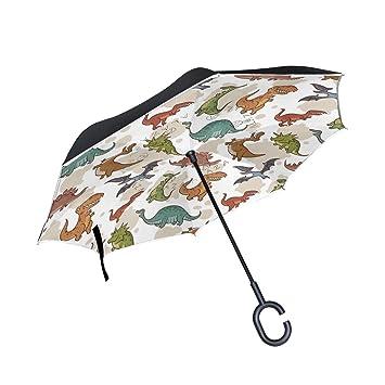 Mnsruu - Paraguas invertido con patrón de Dinosaurio, Doble Capa, Paraguas Plegable Resistente al