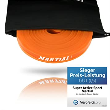 Super Active Sports Banda Elástica de Resistencia de Martial | Cuerda de Fuerza para Fitness, Crossfit, Pilates, Estiramientos| Incluye Bolsa de Transporte | 5 Niveles de Resistencia Diferentes