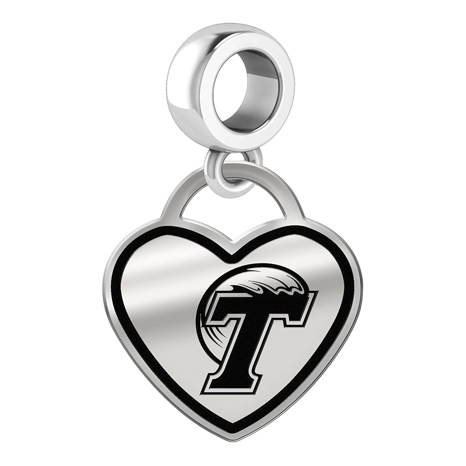 Home college tulane green wave tulane green wave silver plated - Amazon Com Tulane Green Wave Border Heart Dangle Charm Fits All Beaded Charm Bracelets Jewelry