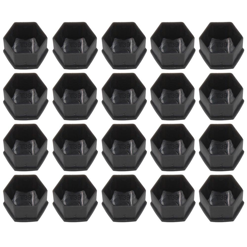 Capuchons Protection Hexagonal Pour /écrous de Roue Paquet de 20, Noir ARTGEAR Haute qualit/é Boulon Ecrou Couvre 17 mm avec Outil Demontage