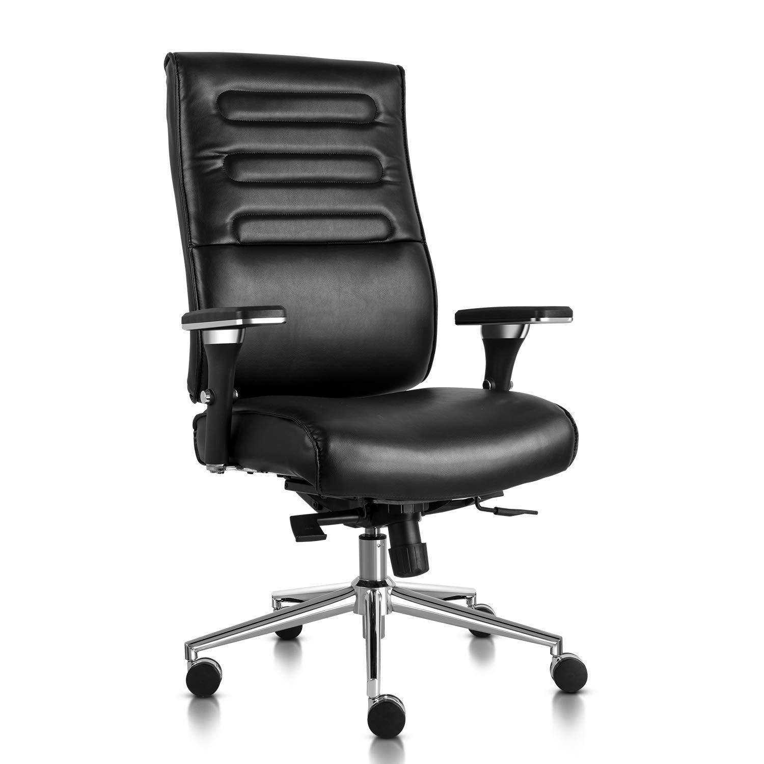 Executive Office Chair High Back Bonded Leather Desk Chair with Adjustable Armrests and Sliding Spring Seat (Black) by SmugOffice