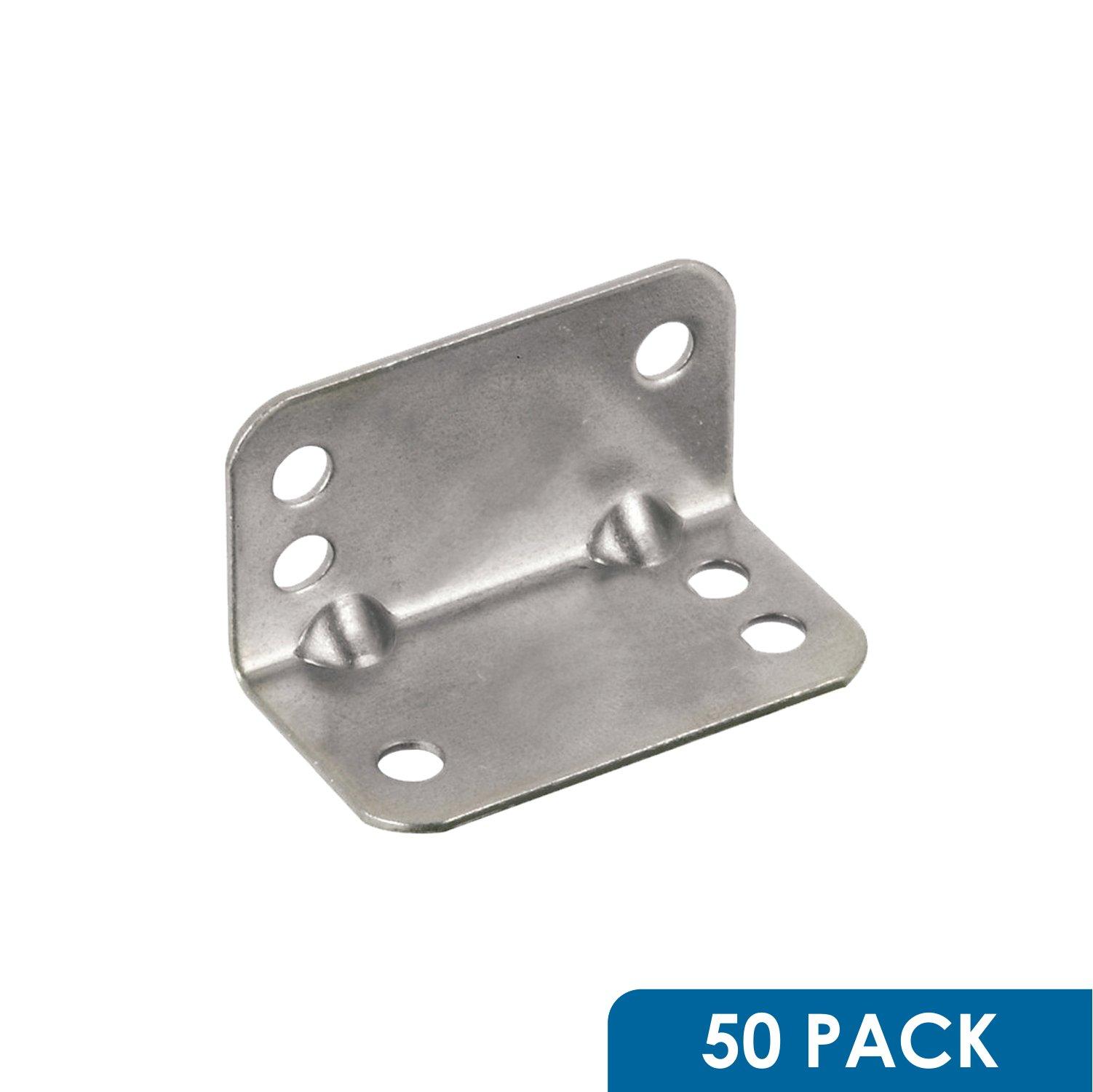 Rok Hardware Heavy Duty Metal Bracket Right Angle Brace, 20 Gauge, Zinc Finish, 50 Pack