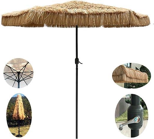 WWWRL Sombrilla De Jardín | 2,7m | Simulación Parasol Paja con Manivela | 255cm Alto | para Balcón/Terraza/Playa/Patio/Sombrilla Market - SIN Base: Amazon.es: Hogar