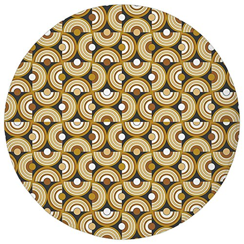 Round Rug Mat Carpet,Retro,Funky Abstract Motif Half Circular Inner Round Forms Spiral Hoops Artwork,Grey Marigold Cinnamon,Flannel Microfiber Non-slip Soft Absorbent,for Kitchen Floor Bathroom