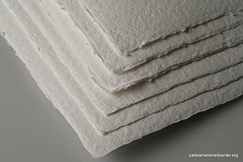 Auténticas hojas de papel asperas hechas a mano (100% algodón) para acuarela , 600g/m² - 35 x 50 cm, color blanco, paquete de 10 hojas: Amazon.es: Oficina y papelería