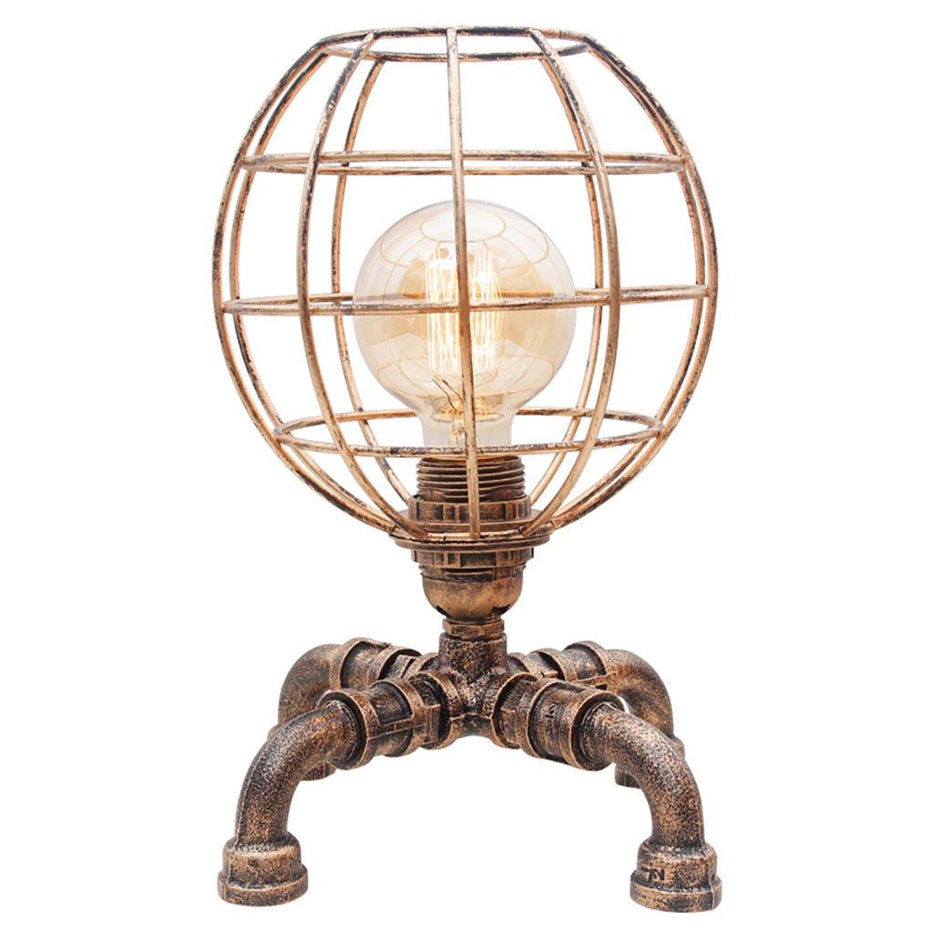 Home experience- Retro- industrielle Tischlampe-kreatives Eisen-Rohr-Licht mit einem hohlen Lampenschirm, Schalter dimmend