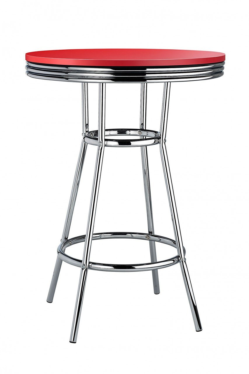 Costantino Detroit American Diner Style Retro Bar Table Red