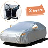 SEAZEN Car Cover with Zipper,2 Layer Full Car Covers Waterproof All Weather,UV Protection Snowproof Dustproof,Universal…