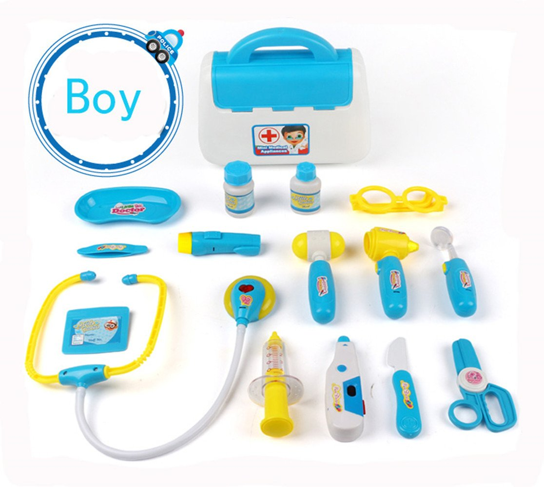 Doctor Role Play Set Pretend Carry Case Medical Kit Learning Gift Boys Girls Age 3 and Up Blue Pink Blue Vinstoken
