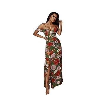 JUNHONGZHANG Vintage Impresas Florales Maxi Vestido Largo Mujer Volantes Fuera del Hombro Vestidos De Beach Party
