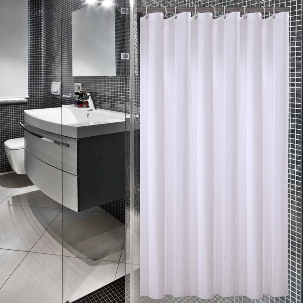 Sfoothome 72 Inch Wide x 72 Inch Long Hotel Fabric Shower Curtain Waterproof and Mildew Free Bath Curtains Heavy Weight, Pure White