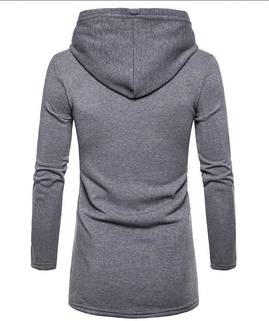 Lutratocro Mens Casual Warm Solid Color Hooded Outwear Slim Mid-Long Cardigans