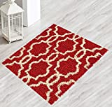 Kapaqua Moroccan Trellis 2'7'' x2'7 Red & Ivory Shag Area Rug Small Accent Rug (31''x31'') Royal Shag Collection SHG4500-2X2