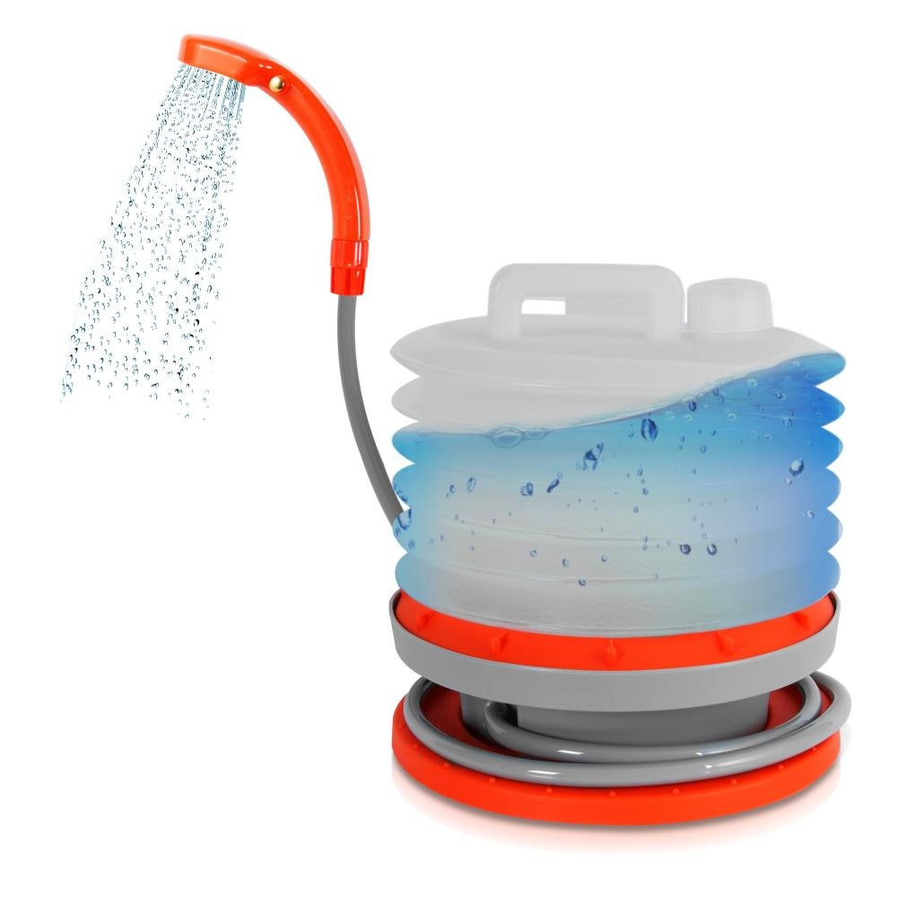 Pyle Pure Clean Portable Shower Compact Travel Sprayer Outdoor Washer Cleaning System Expanding Bucket USB Rechargeable Battery Hiking Camping Beach Pet (PCSHPT17)