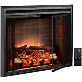 PuraFlame Klaus Electric Fireplace Insert with Fire Crackling Sound, Glass Door and Mesh Screen, 750/1500W, Black, 33 5…