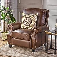 Denise Austin Home 296612 Jasmine PU Leather Recliner Club Chair, Light Brown