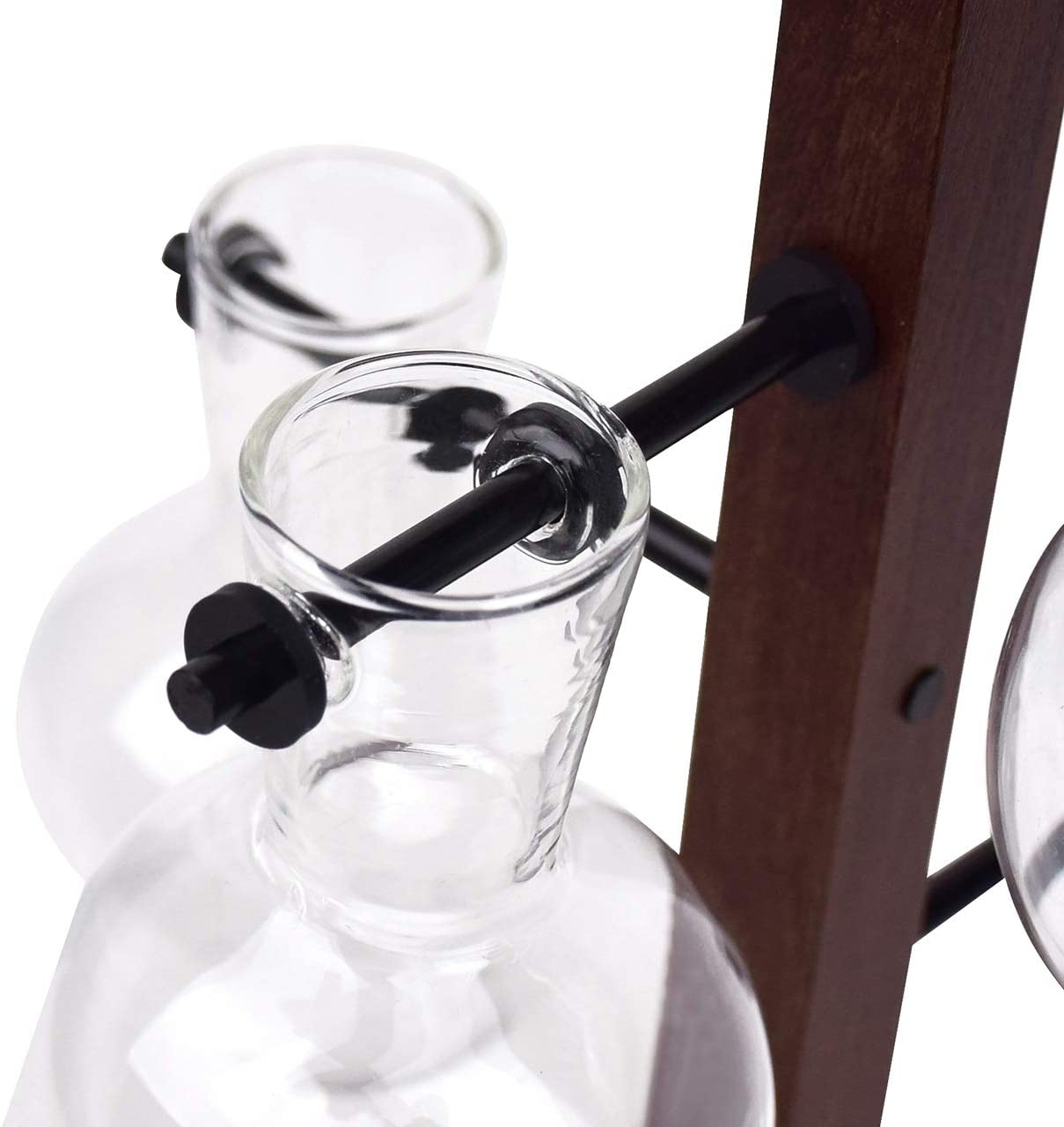 DEDC 4 jarrones de cristal transparente de escritorio con soporte de madera maciza retro para plantas hidrop/ónicas y decoraci/ón de jard/ín