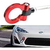 iJDMTOY (1) Sports Red Track Racing Style Aluminum Tow Hook For Scion FR-S Toyota 86 Subaru BRZ Impreza WRX Sti, etc
