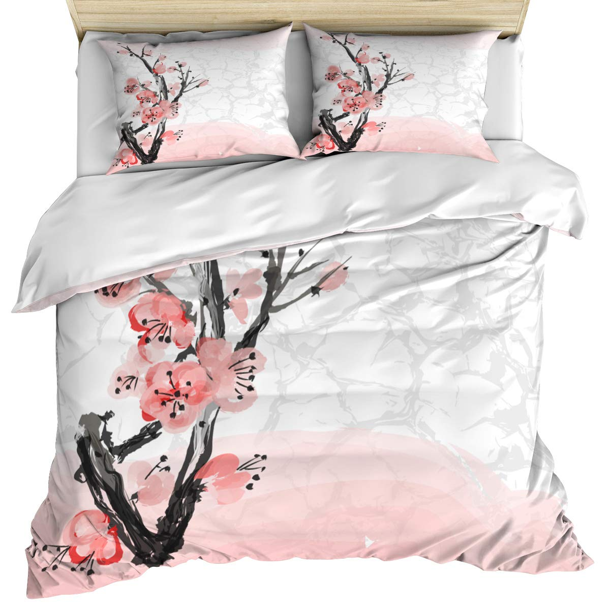 Floral 3 Piece Bedding Set Comforter Cover King Size, Japanese Cherry Blossom Sakura Blooms Spring Inspirations Print,Duvet Cover Set Bedspread Daybed with Zipper Closure for Kids/Teens/Adults