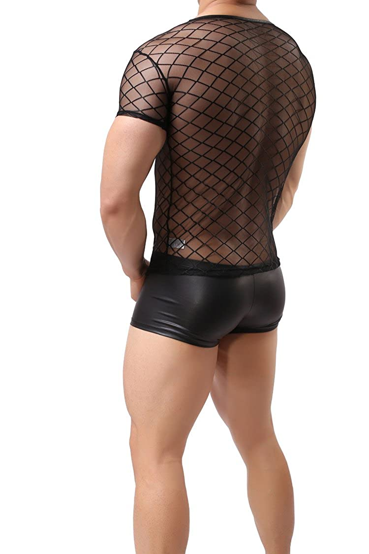 ONEFIT Mens Mesh See Through Muscle Fishnet Tank Top Underwear